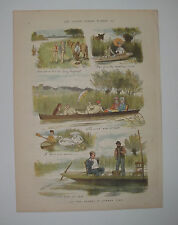 Boating Up The Thames In Summer Time 1879 Vintage Colour Print