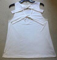 New Ann Taylor Loft Woman's White Sleeveless Top Cutout Back W/2 Ties Size M $79