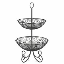 TableCraft Bkt2 Mediterranean Collection Black 2-Tier Display Basket