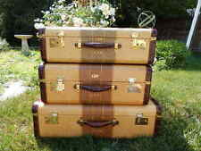 Vintage Set of 3 Classic c1940s Suitcase Bridgeport Luggage Great Condition!