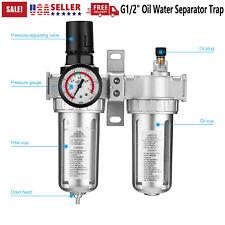 G12 Oil Water Separator Trap Tool Air Compressor Filter Kit With Regulator Gauge