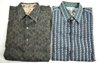 2 Robert Graham Men Multicolor Long Sleeve Flip Cuff Button-Up Casual Shirt 2XL