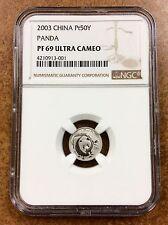 {BJSTAMPS}  2003 China 50 Yuan 1/20 Oz Platinum Proof Panda NGC PF69 ultra cameo