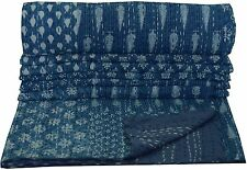 INDIGO BLUE PATCHWORK KANTHA QUILT INDIAN BEDSPREAD BLANKET REVERSIBLE THROW