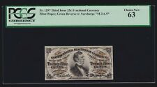 Us 25c Third Issue Fiber Paper Fractional Currency Note Fr 1297 Pcgs 63 Ch Cu
