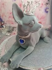 More details for chihuahua dog, luxury statue, in smooth velvet with luxury diamonds and crown.