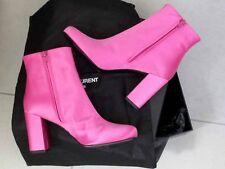 $845 Saint Laurent AUTH NIB Babies 90MM Ankle Boots 38.5 Pink Satin