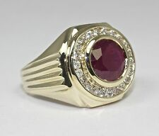Men's 14k Yellow Gold Round Ruby With Halo Of White Round Diamond Ring Size 10