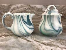 Green Marble Swirl Cream And Sugar Set. Stoneware. New.