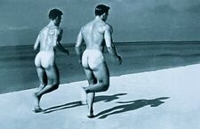 Greeting card / 2 Nude men running on the Beach / Gay Interest