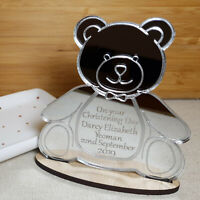 PERSONALISED CHRISTENING GIFT PRESENT TEDDY BEAR KEEPSAKE MIRROR PLAQUE BOY GIRL