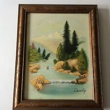 ORIGINAL VINTAGE OIL PAINTING BABBLING BROOK BY DONALLY SIGNED 1950 - 1969 K