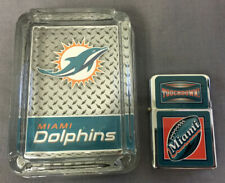MIAMI DOLPHINS ASHTRAY AND LIGHTER GIFT SET FOOTBALL
