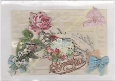 CPA CELLULOID Bonne Fête ajoutis muguet rose rubans Edit ca1918