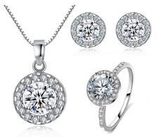 NECKLACE SILVER CHAIN WITH PENDANT, EARRINGS AND RING SET UK STOCK