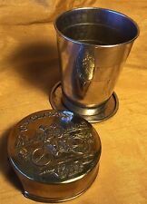 Vtg 1897 Patent Embossed Lid Folding Gold Wash Metal Cyclist's Cup w Tandem Bike