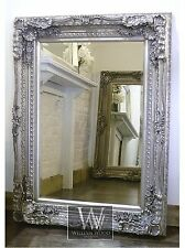 "Chelsea Silver Carved Ornate Rectangle Antique Wall Mirror 48"" x 36"" X Large"