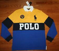NWT Mens Polo Ralph Lauren Custom SLIM Fit Rugby Shirt BIG PONY & Patch LOGO *F2