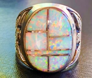Handsome White Solid Heavy Fire Flashing Opal Men's Ring 9 S Eagle Powerful