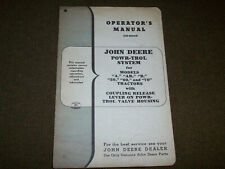 John Deere Powr-Trol System Operator's Manual for A AR B 50 60 70 Tractor