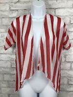 Lularoe LLR Cardigan Shrug Red and White Wide Stripes Size 2 Small