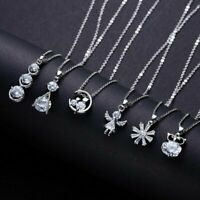 Charm Silver Crystal Zircon Necklace Pendant Choker Chain Women Jewelry Gifts S8