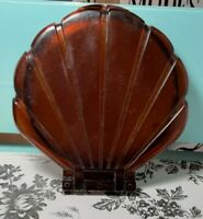 """Vintage Lucite Faux Tortoise Shell Scallop Flapjack Double 6"""" Mirror Compact"""