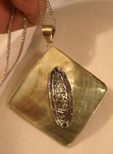 Shimmery Pearl Gray Abalone Shell Rhombus Silvertone Inset Pendant Necklace
