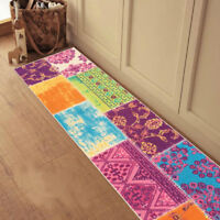 Custom Size Stair Hallway Runner Rug Rubber Back Non Skid Multicolor Patchwork