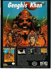 Vintage 1990 Koei NINTENDO NES GENGHIS KHAN  video game print ad page