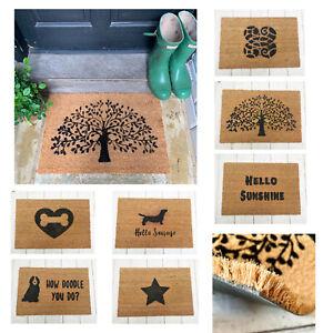 Natural Coir Doormats PVC Rubber Non Slip Novelty Welcome Quality Mat NEW UK
