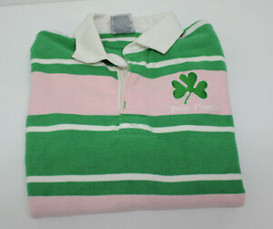 Vintage Barbarian Pink and Green Notre Dame Long Sleeve Polo Shirt