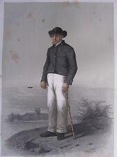 1872 PRINT SWEDISH PEASANT COSTUME ~ MALE OF BARA DISTRICT Skanska Folkdragter
