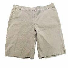 Women's Shorts Bermuda Beige stripe pockets stretch mid rise size 12 pinstripe