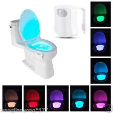 hot 8-Color LED Motion Sensing Automatic Toilet Bowl Night Light