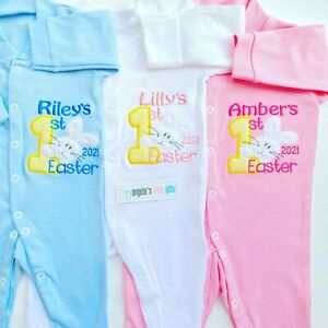 Personalised First 1st Easter 2021 Bunny Embroidered White Pink Blue Baby Grow