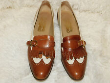 Vintage Salvatore Ferragamo Brown And White Leather Loafers Size 9Aa