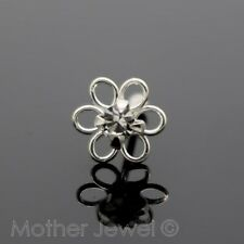 Real Solid 925 Sterling Silver 4mm Crystal Daisy Flower Nose Stud Pin Bone