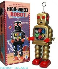 Wind Up Gear Robot High Wheel Gold Schylling Tin Toys NEW!