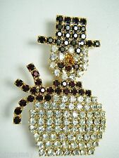 CUTE VINTAGE SPARKLING RHINESTONE HAPPY SNOWMAN PIN  OLD STORE STOCK   1 of 10