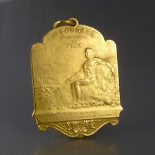 """Antique French Gilded Metal Medal, """"Eiffel Tower, Nude Man"""", Paris, 1908"""
