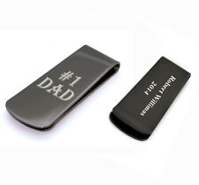 Personalized Stainless Steel Black #1 Dad Money Clip Father's Day Gift