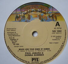"PAUL JABARA & DONNA SUMMER - Never Lose Your Sense Of Humor - Ex Con 7"" Single"