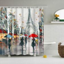 Shower Curtain Paris Print Bathroom Liner Fabric Sheer Panel with Hook Set