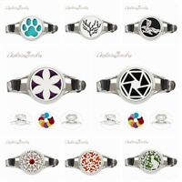 30MM Aromatherapy Essential Oil Diffuser Locket Bracelet Leather Watch Wristband