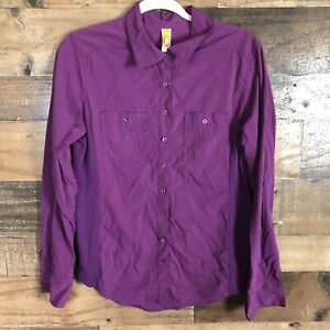 lucy purple button up athletic top womens medium