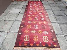 Antico Tradizionale Turco Orientale Kilim Tappeto fatto a mano lana 376x120cm Rosso