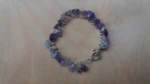 Empowering Jewelry Amethyst Chunky Chips Bracelet Silver Tone Alloy Toggle Clasp