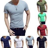 Men T-Shirt Short Sleeve Gym Sports Slim Fit V-Neck Solid Top Tee Shirt M/L-2XL