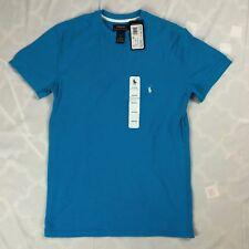 New $40 Mens S Polo Ralph Lauren Henley T Shirt Short Sleeve Blue Logo Sleep